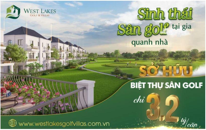 Chỉ cần 3,2 tỷ đồng dễ dàng sở hữu biệt thự sân golf tại Long An